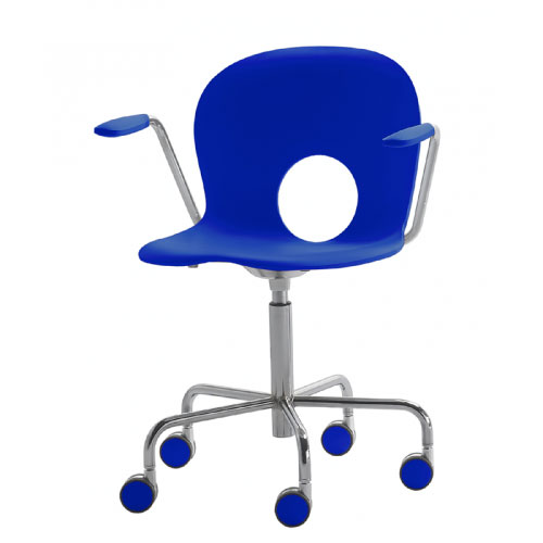 Rexite - Olivia Swivel Armchair on Castors with Fixed Height - Blue