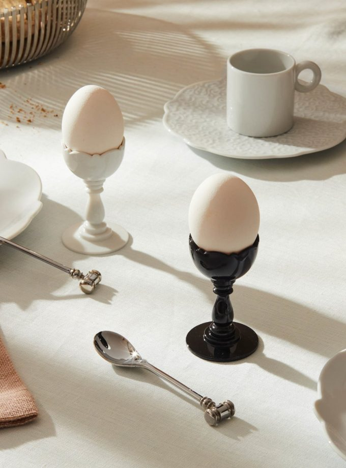 Alessi Dressed Egg Cup w Spoon White