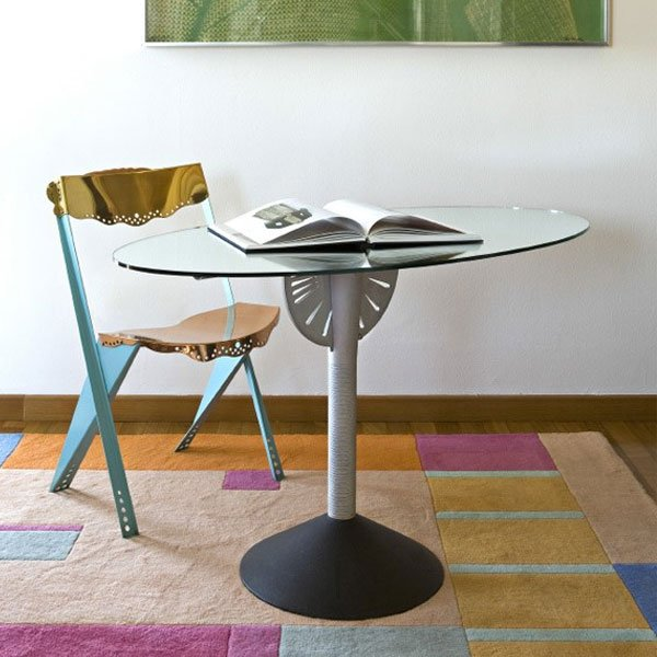 Driade philippe starck psiche adjustable table floor for Philippe starck glass table