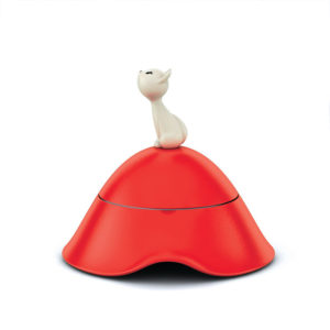 A di Alessi - Red Mio Cat Bowl with Lid