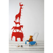 Ferm Living Kids - Animal Tower Wall Sticker (Red)