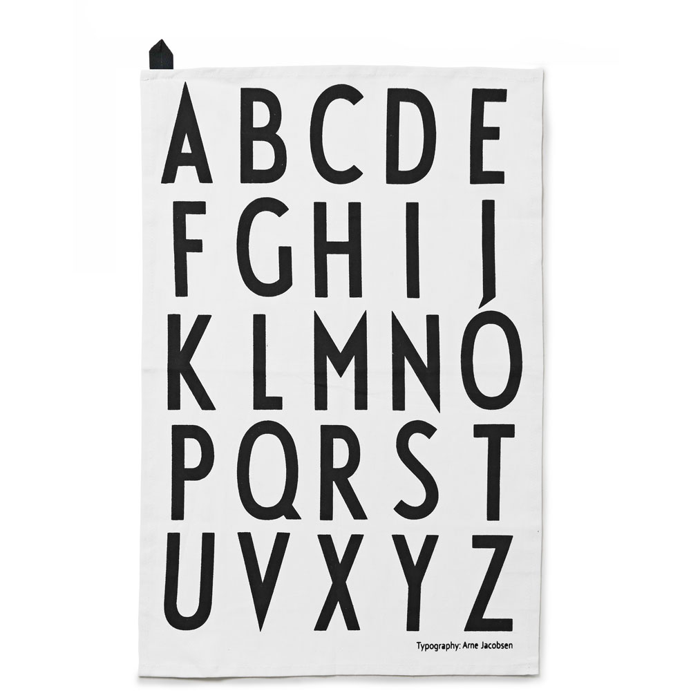 design letters arne jacobsen tea towels white with black letters 2pcs set 1937 panik design. Black Bedroom Furniture Sets. Home Design Ideas