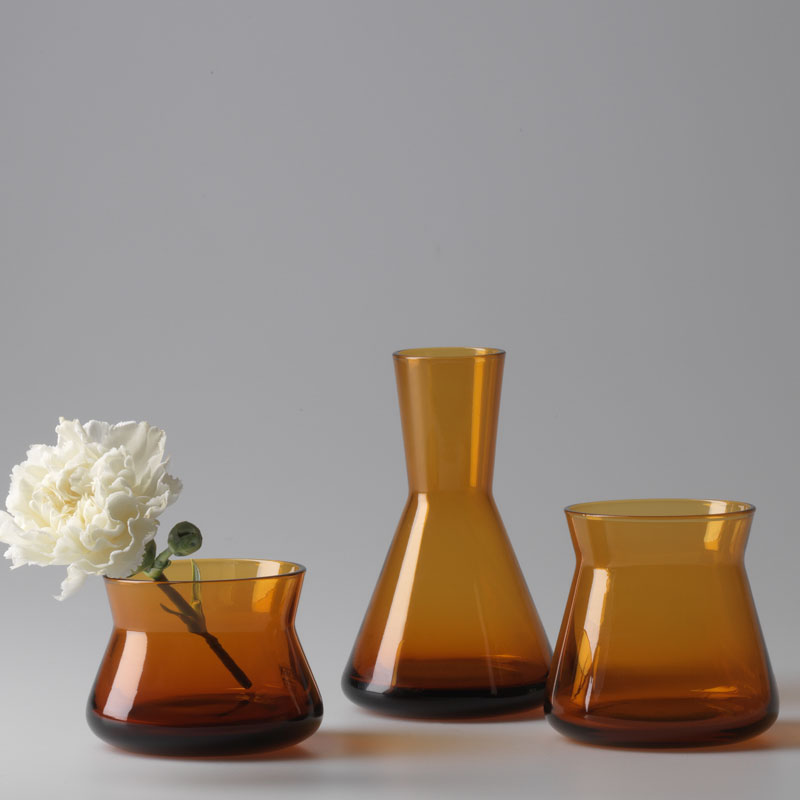 design house stockholm trio glass vases 3pcs set amber panik design. Black Bedroom Furniture Sets. Home Design Ideas