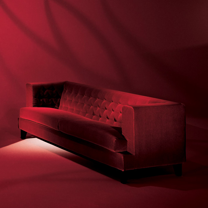 Driade   Hall Red Velvet Sofa Three Seater