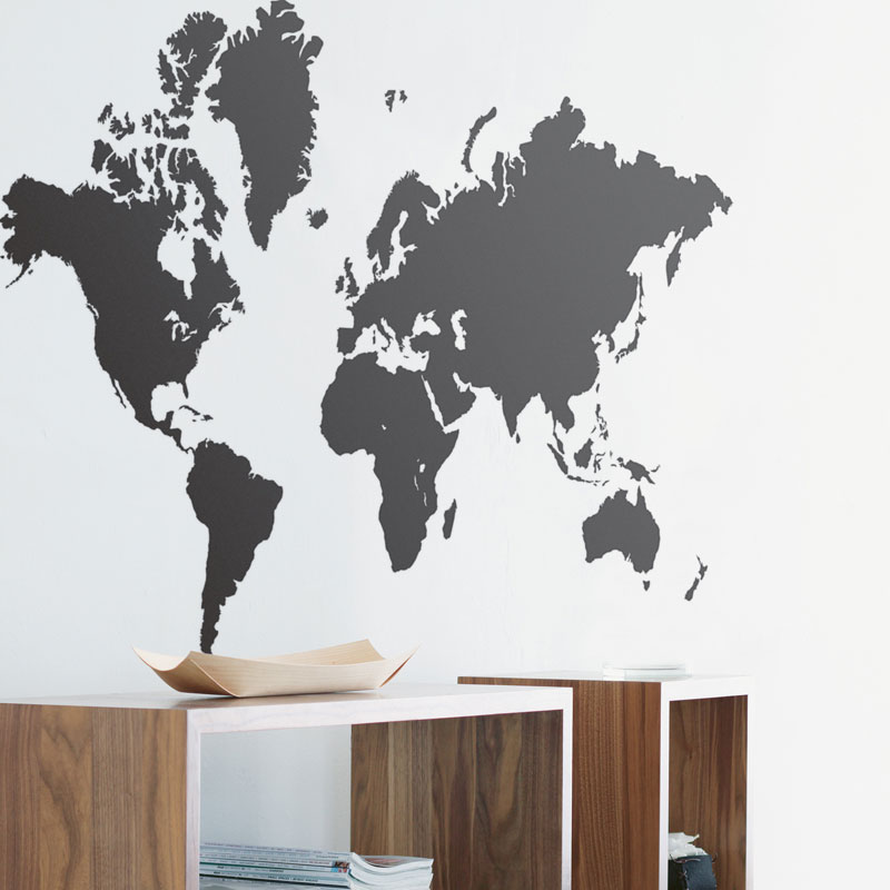 Ferm living world map wall sticker black panik design ferm living world map wall sticker black gumiabroncs Image collections
