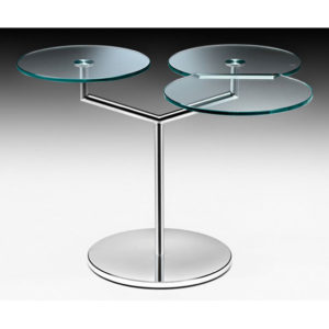 Fiam - Orbit Rotating Glass Top Side Table