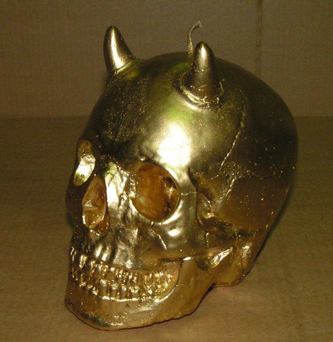 Koff Gold Skull Candle with Horns