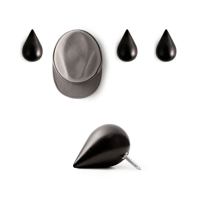 Normann Copenhagen - Dropit Wooden Wall Hooks Large Black 2pcs Set