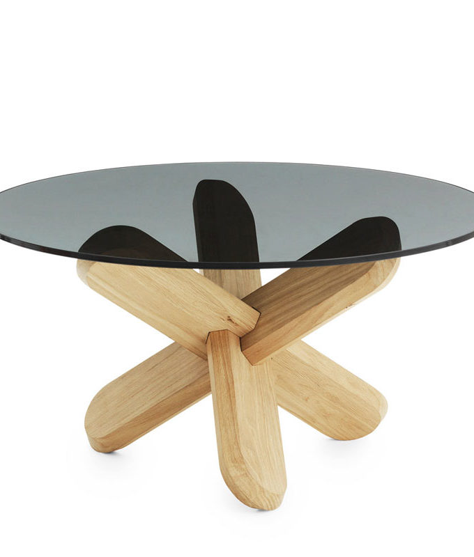 Normann Copenhagen - Ding Oak Coffee Table with Smoked Glass