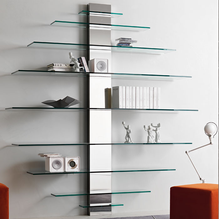 Tonelli Mondovisione Glass Wall Shelving Unit Panik Design Rh Com Mounted Shelves