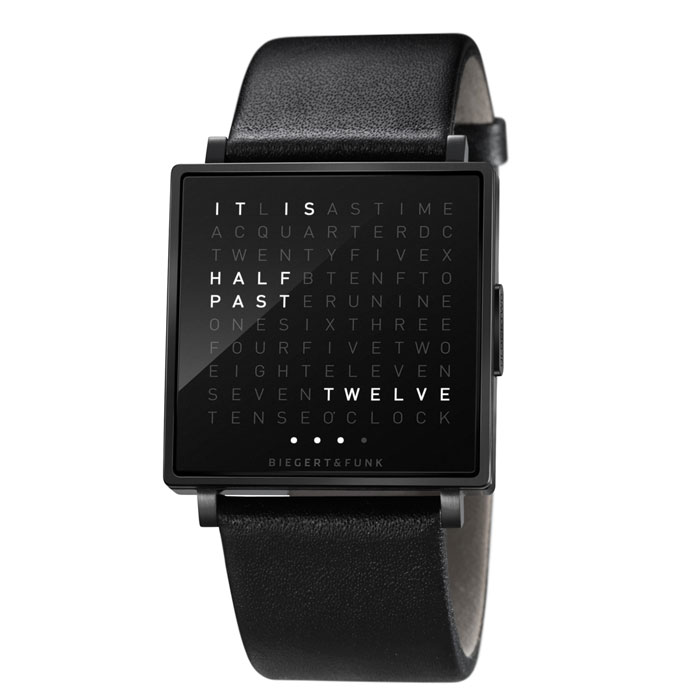 biegert funk qlocktwo w watch replacement black strap panik design. Black Bedroom Furniture Sets. Home Design Ideas