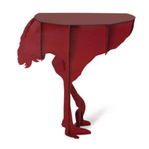 ibride Diva Ostrich Wall Console Table Red