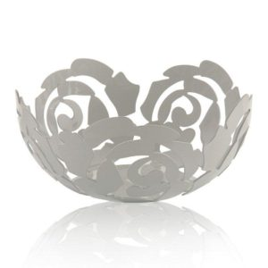 Alessi - La Rosa Fruit Bowl Large Platinum White