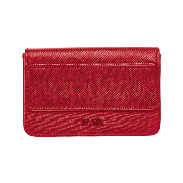 Nava - Saffiano Leather Horizontal Business Card Holder