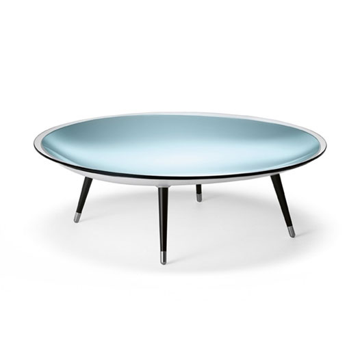 Roy Mirrored Glass Coffee Table With Black Legs