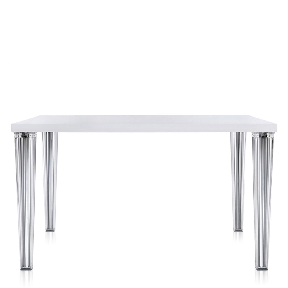 Kartell philippe starck top top square table glossy white panik design for Philippe starck tables