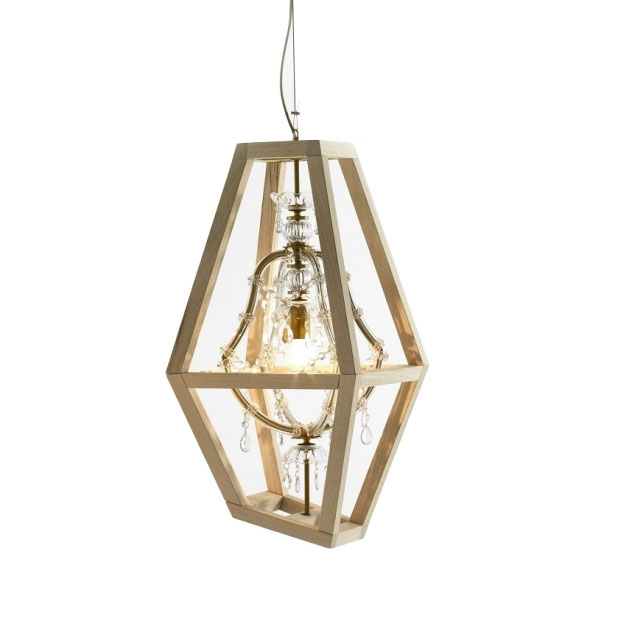 Mogg - Crystal Lamp with Wood Frame - Small