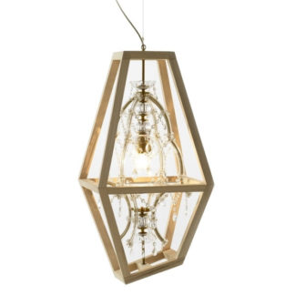 Mogg - Crystal Lamp with Wood Frame - Large