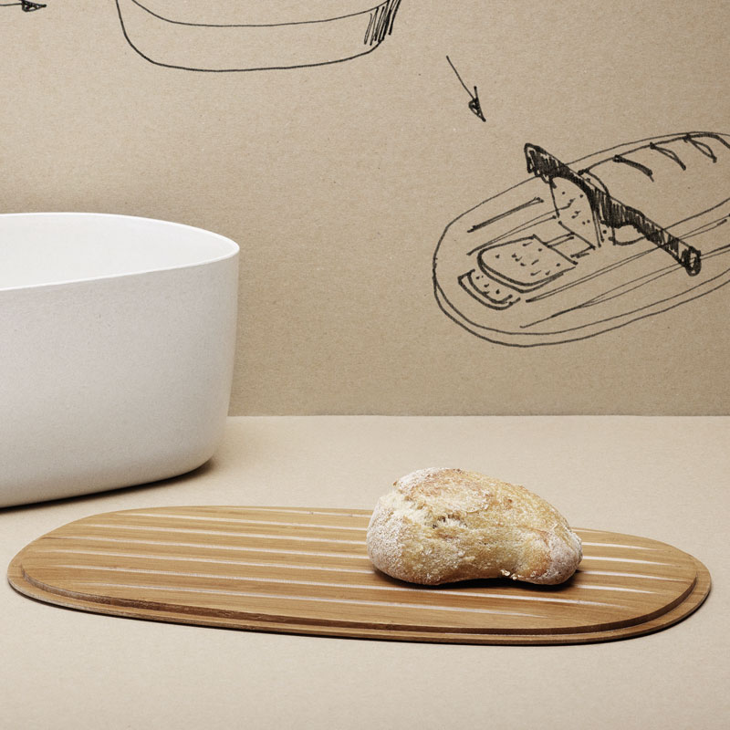 Rig Tig White Bread Box With Bamboo Chopping Board Lid