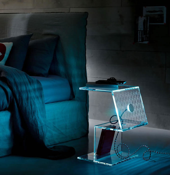 Tonelli - Lumetto Glass Night Table with LED Light 50cm