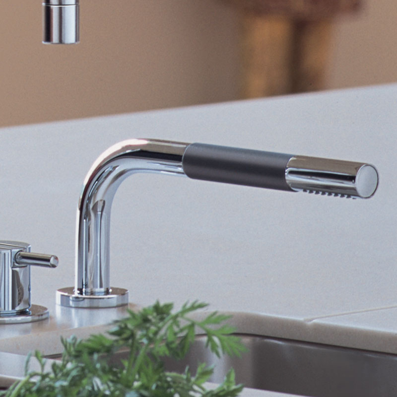 Vola - Arne Jacobsen - KV1 Kitchen Mixer with One-Handle Mixer 500 and Hand Shower T1 Polished Chrome