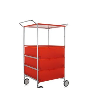Kartell Mobil Container Handles 3 Drawers with Shelf and Wheels