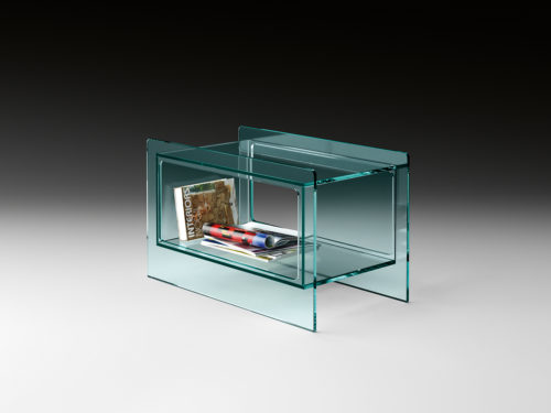 Fiam Magique Side Table Long w Compartment Glass