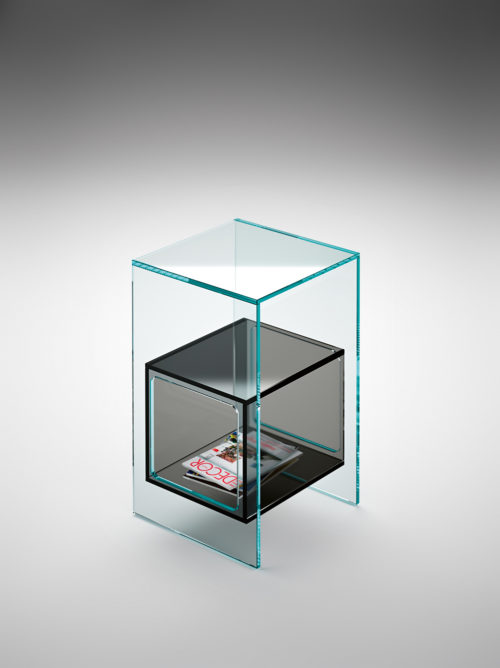 Fiam Magique Side Table w Compartment Glass