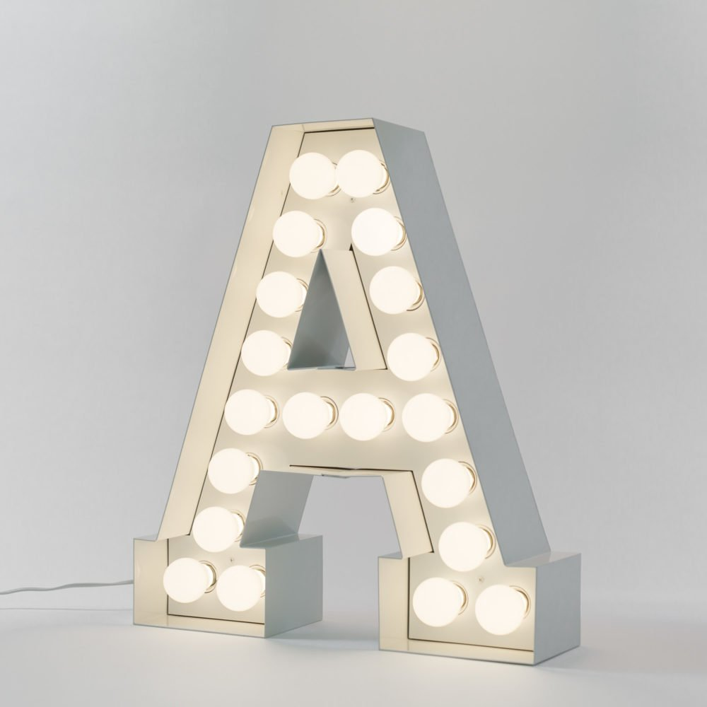 Seletti vegaz large metal letters lights 60cm panik design for Metal letters with lights