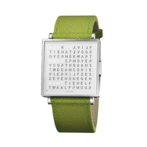 Qlocktwo W 39 Stainless Steel French Grain Green