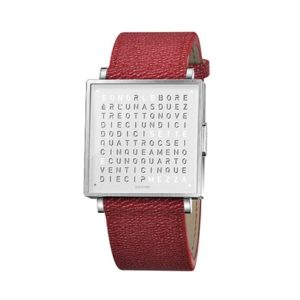 Qlocktwo W 39 Stainless Steel French Grain Red
