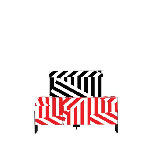 Driade Ziqqurat Striped Cabinet 2 High
