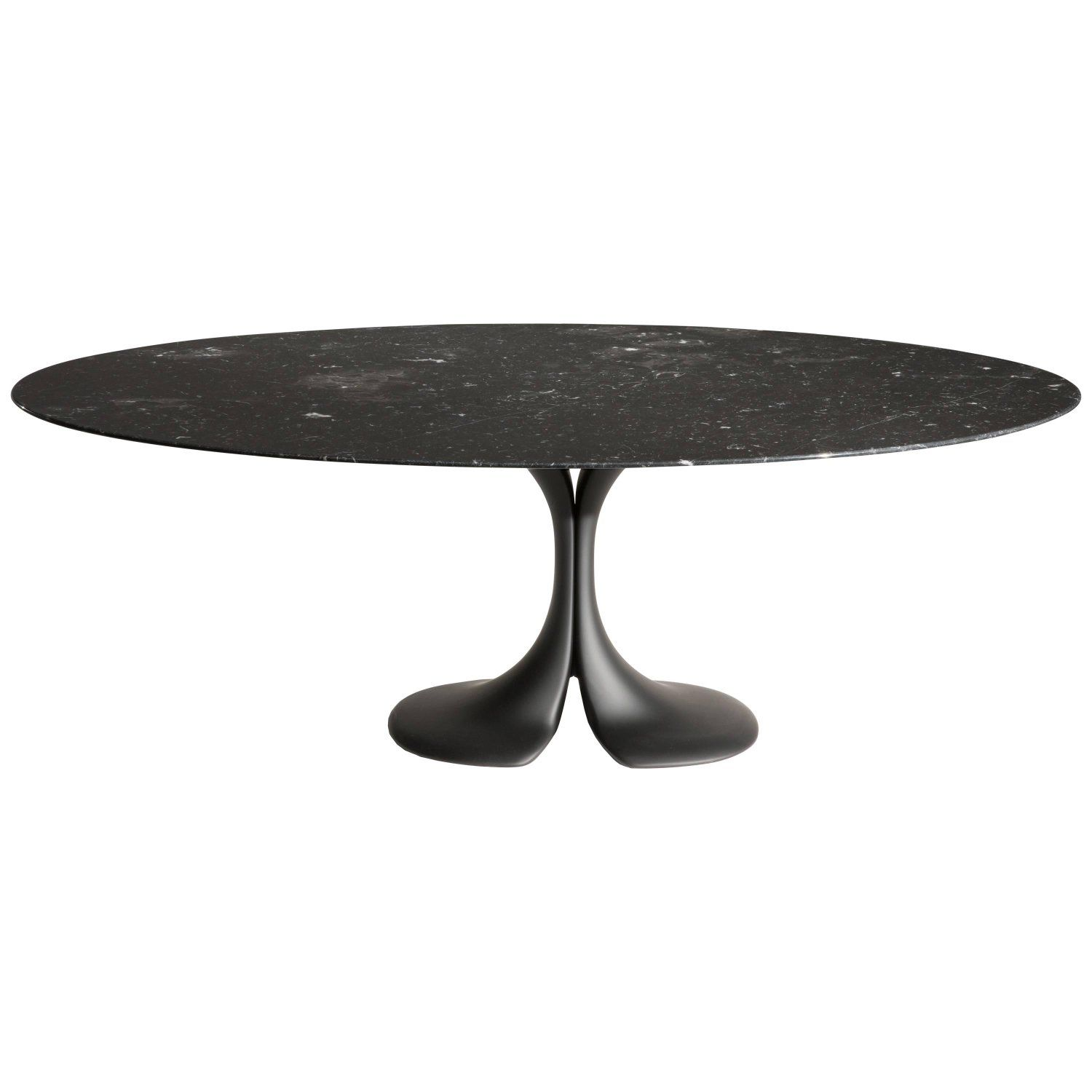 Driade Didymos Glossy Black Marquina Marble Oval Table