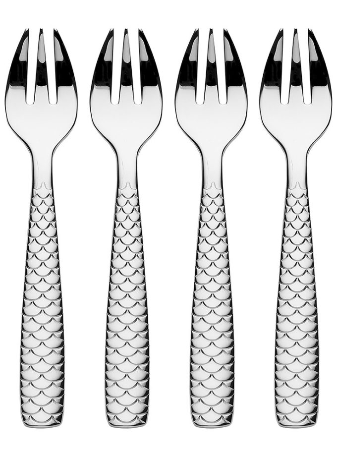 Alessi Colombina Fish Oyster Clam Forks 4pcs