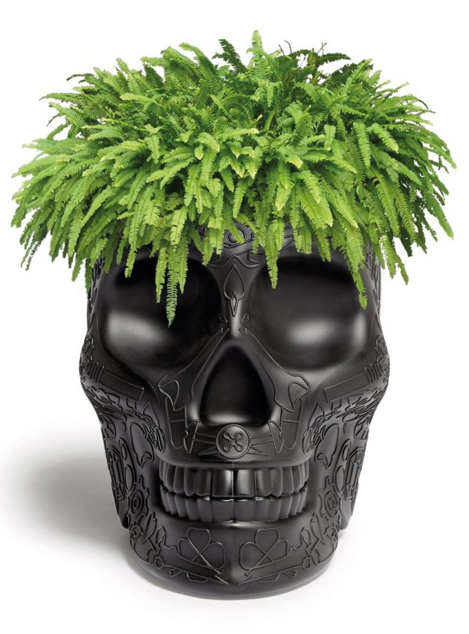 Qeeboo Mexico Skull Planter Champagne Cooler