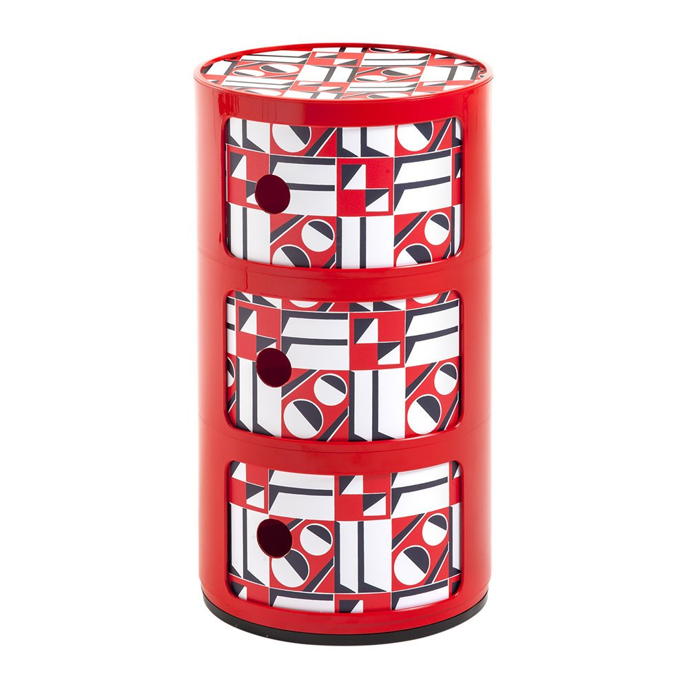 Kartell La Double J Componibili Red Geometric