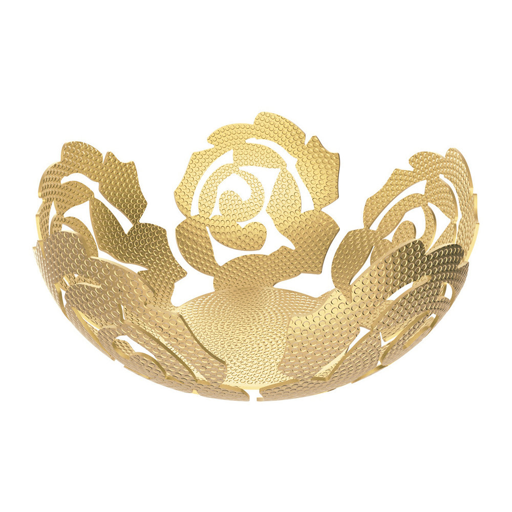 Alessi Fruit Holder La Rosa Brass w Relief Decoration