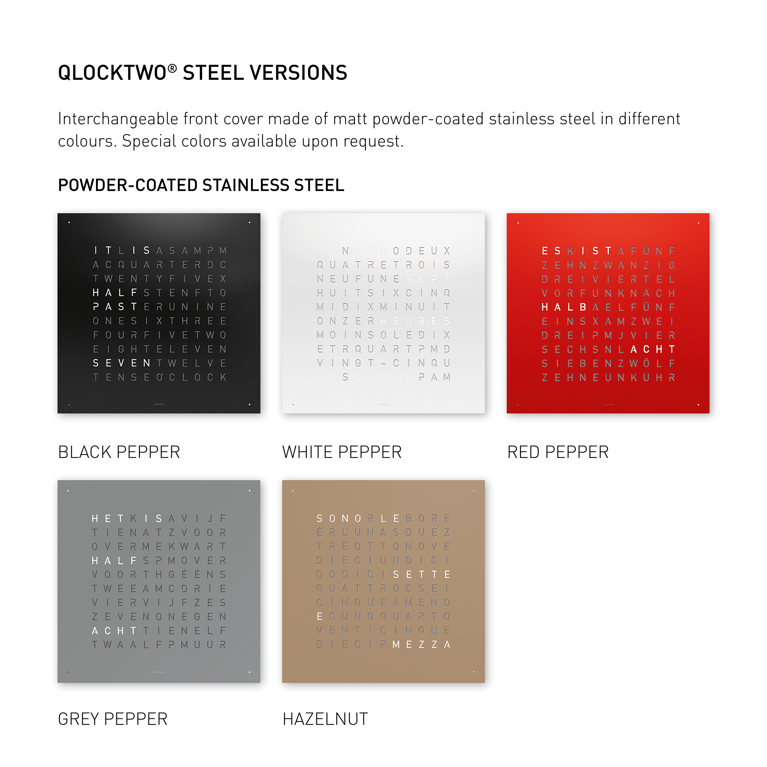 Qlocktwo Powder Coated Steel Classic Clock Red Pepper