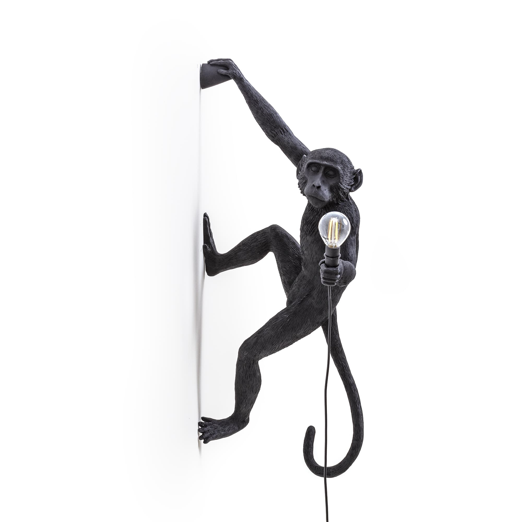 Seletti Monkey Right Hanging Wall Light Black Outdoor