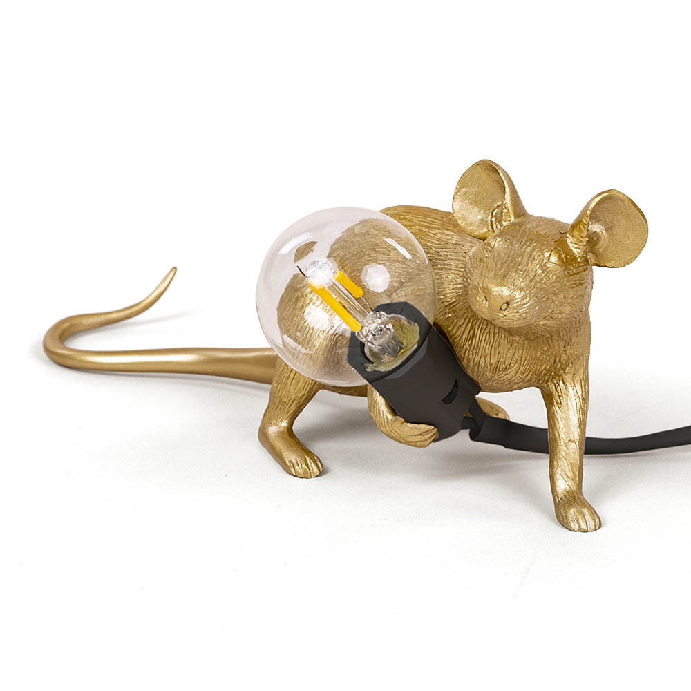 Seletti Mouse Lie Down Table Light Gold